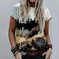 2021 Women Pattern Print T-Shirt Summer O Neck Short Sleeve Pullover Tops Ladies 2XL Fashion Vintage Sexy Streetwear