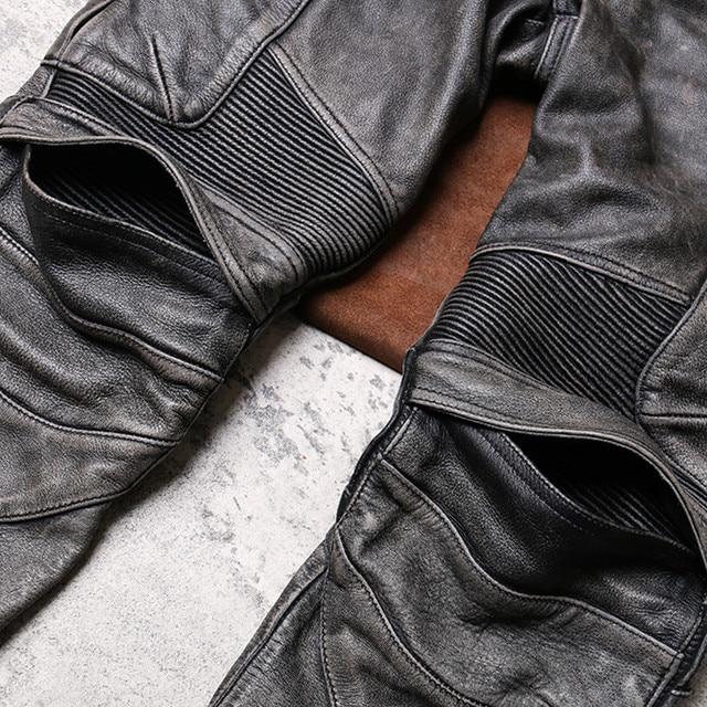 2020 Vintage Grey Men Biker's Leather Trousers Large Size XXXXL Genuine Cowhide Autumn Slim Fit Motorcycle Leather Pants 5