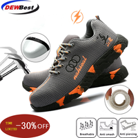 Защитная обувь со стальным носком для мужчин и женщин; дышащая сетка; Промышленные и строительные проколы; рабочие ботинки; защитная обувь
