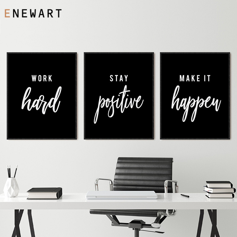Office Decor Hustle Poster Work Hard Inspirational Quotes Wall Art Motivational Print Entrepreneur Gift Canvas Painting Picture