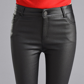 Women Thin Velvet PU Leather Pants 2019 New Female Elastic Stretch Faux Leather Skinny Pencil Pant Tight Trouser Autumn Winter 2