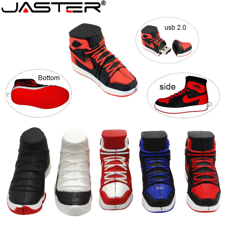 JASTER Fashion hot selling creative U Disk 2.0 64GB 32GB 16GB 8GB 4GB cartoon Nike Jordan sneakers real capacity USB flash drive