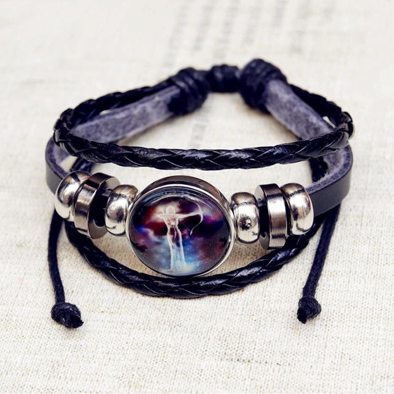 12 Zodiac Signs Constellations Bracelets Black Button Woven Leather Bracelet Glass Dome Jewelry Men Aries Libra Leo Virgo Gift