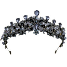 Baroque Black Wedding Tiara Headband Rhinestones Bridal Hair Accessories Vintage Crowns Bride Diadem Hair Jewelry(China)