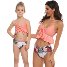 Candy Color Mother Daughter Bikini Swimsuit Mommy and Me Swimwear Family Matching Clothes Outfits Mom and Baby Beachwear Dresses