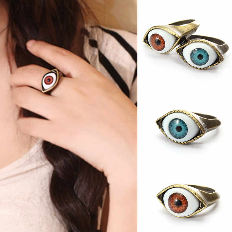 1 Pc Halloween Vintage Punk Brons Evil Eye Ring Oogbol Vinger Ring