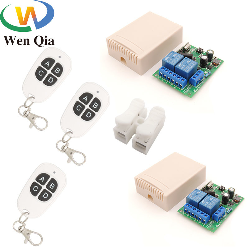 Wenqia Switch AC85~250V 10A 2200W 2CH 1&2gangs 433rf Remote Control Wireless Receiver Relay Module for Light/Moto/Electric Door