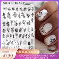 Трафареты NICOLE DIARY для маникюра, большие прямоугольные штамповочные пластины с изображением точек, цветов, листьев