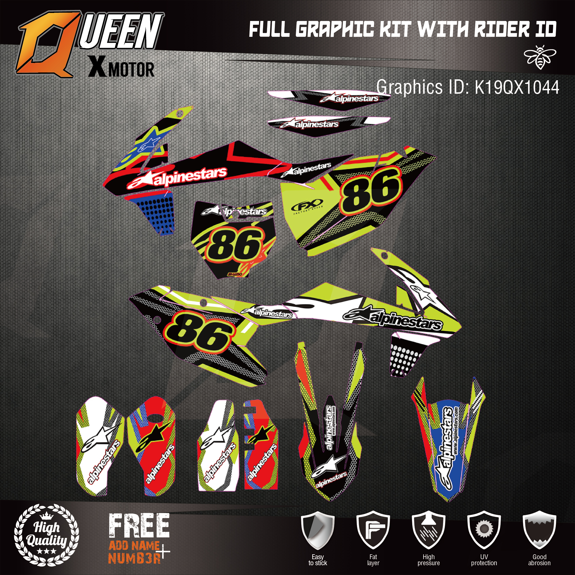 Stickers-Kit Decals Graphics Custom-Team KTM 3M for EXC SX-F 044 Backgrounds Queen-X
