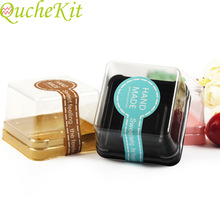 Cake-Box Packaging Moon Container-Holder Plastic Christmas Wedding-Party 100pcs Square