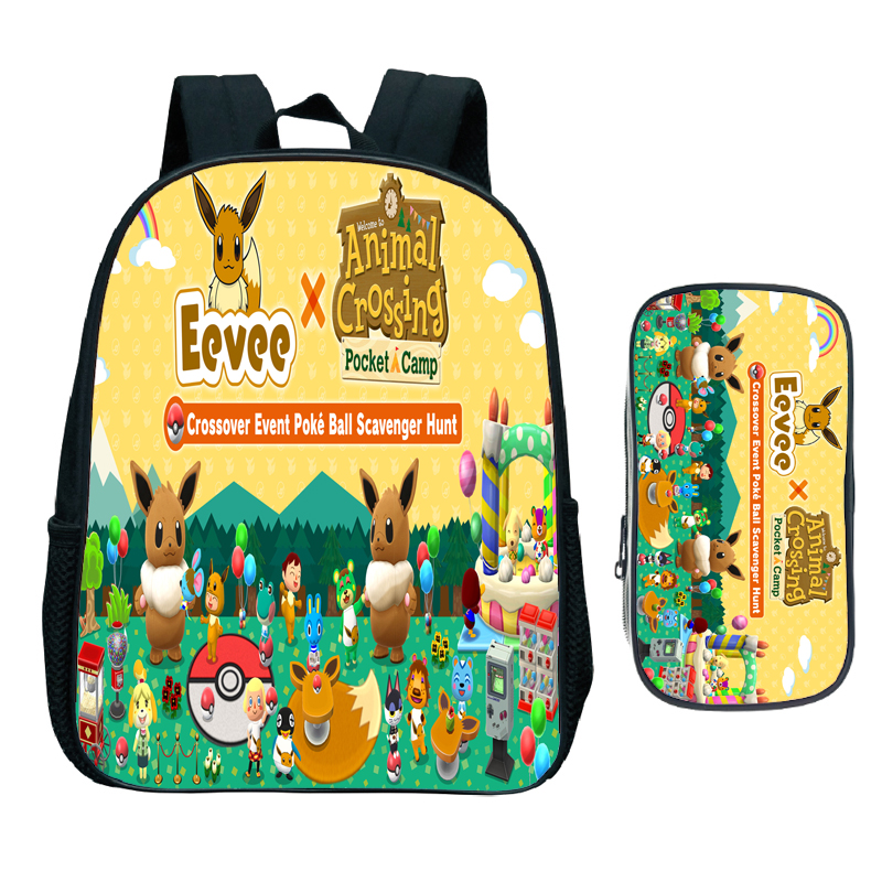 Animal Crossing Backpack 2pcs Set Child Cartoon Kindergarten School Bag Kids Bookbag Children Start School Gift(Rucksack Pen Bag