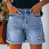 Summer Women Denim Shorts Fashion Womens Pocket Jeans Female Hole Bottom Sexy Casual Loose Ladies Short Femme Streewear #617