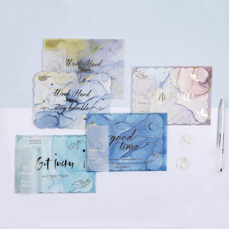 4pcs/Lot Beautiful Sulfuric Acid Paper Greeting Envelope Card Set Graduation Birthday Postcard Thanksgiving Blessing Gift Cards