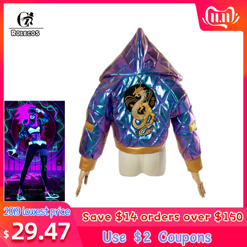 ROLECOS Game LOL Cosplay Costumes Group K/DA Akali Winter Coat Jacket Colorful Group KDA Akali For Women Cosplay Costumes