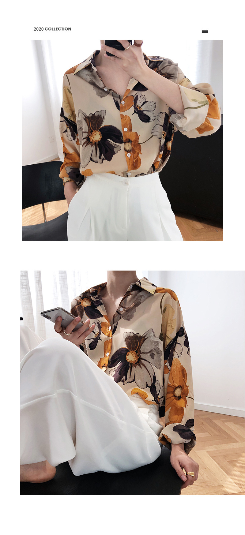 Oil Painting Printed Light Sunscreen Chiffon Shirt 12