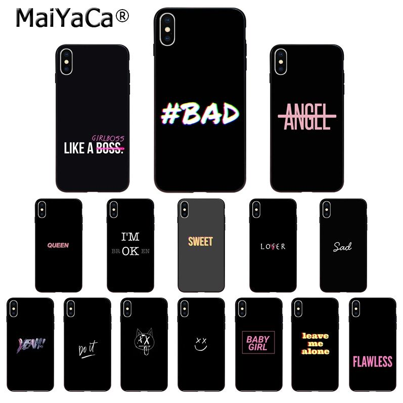 MaiYaCa Color text on a black background TPU Soft Phone Case for iPhone 5 5Sx 6 7 7plus 8 8Plus X XS MAX XR 11 11pro max Cover