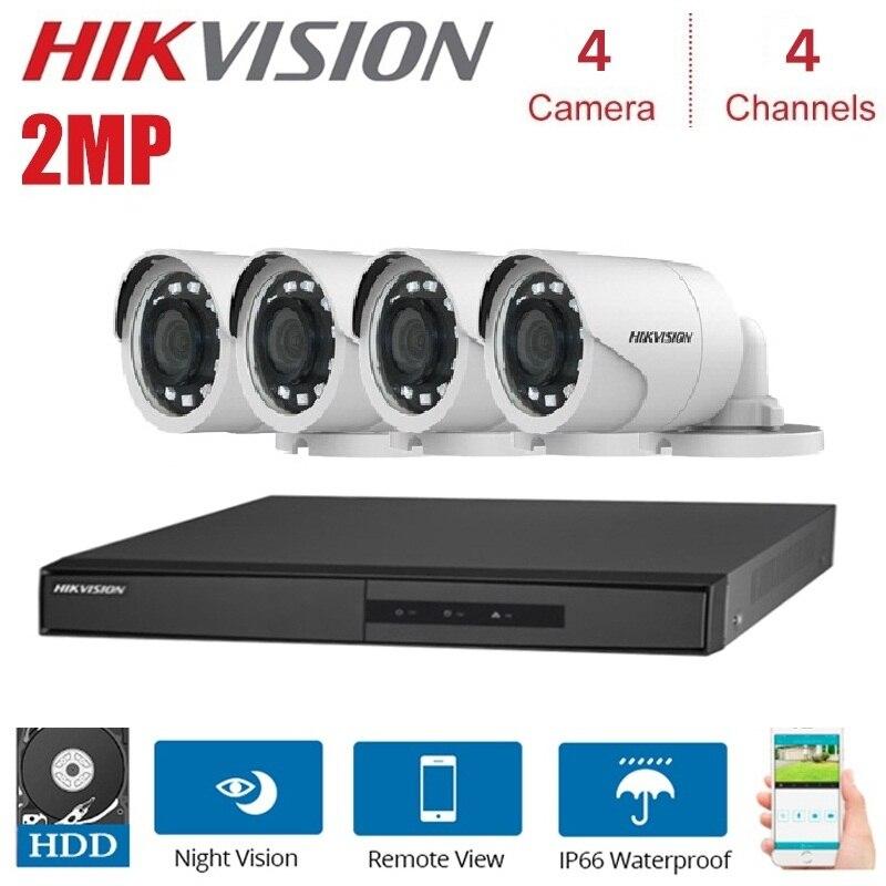 HIKVISION Version anglaise DS-7204HGHI-F1 1080 P 4CH CCTV XVR pour analogique/HDTVI/AHD/IP caméra 1 SATA DS-2CE16D0T-IRF Kits