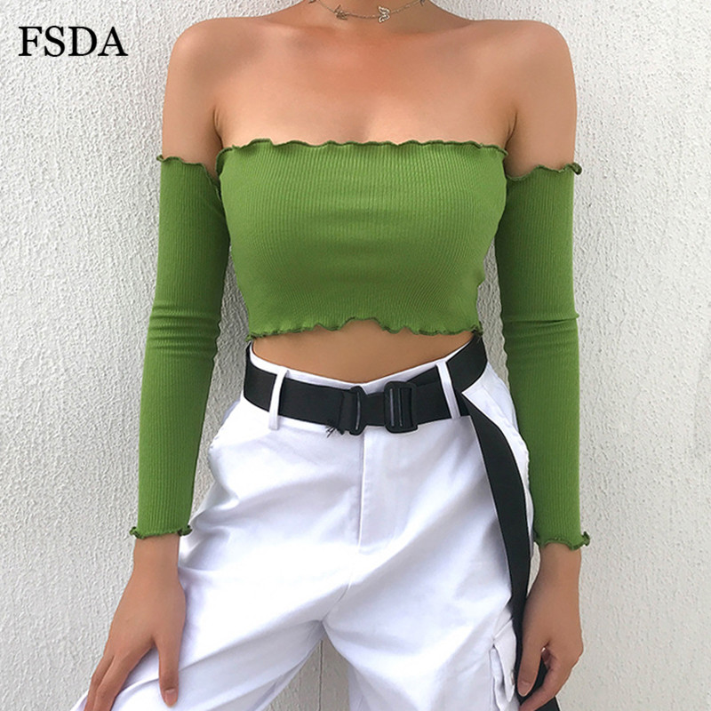FSDA Ruffle Backless Off Shoulder Crop   Top   Women Summer Autumn Sexy Cotton Beach White Black Bustier Short   Tank     Tops   Female