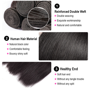 Image 2 - 30 32 36 40 Inch Straight Hair Bundles Long Length Indian Hair Weave Bundles 100% Human Hair Extentions Natural Color Remy Hair