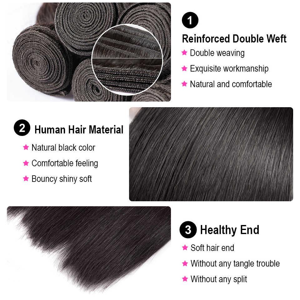 30 32 36 40 inç düz saç demetleri uzun uzunluk hint saç örgü demetleri 100% insan saç uzatma doğal renk remy saç