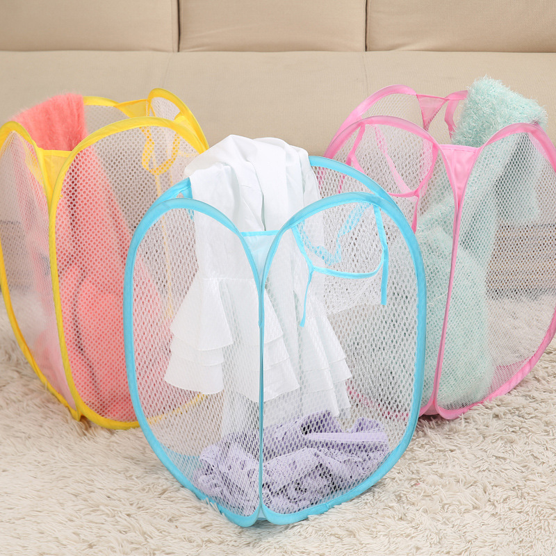 Receive Folding Laundry Basket Pop-up Storage Basket Of Laundry Basket Storage Basket Portable Bag Nets Toys Sundry Receive Bag