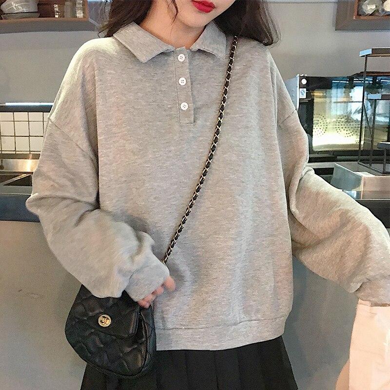 MinuoYi 2019 Autumn New Female Sweatshirts Korean Solid Polos Shirt Bottons Loose Boyfriend Style Female Sweatshirt Pullovers