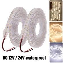 2835 светодиодная лента 12 в постоянного тока 120 светодиодов/м IP67 водонепроницаемая 24 в постоянного тока гибкая лента светильник па естественн...