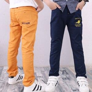 Image 2 - 4 12T Dei Ragazzi Dei Pantaloni Casual Solido 100% Cotone Dritto Pantaloni per I Ragazzi Bianco Ragazzo Dei Bambini Pantaloni 110  150 di Alta Qualità