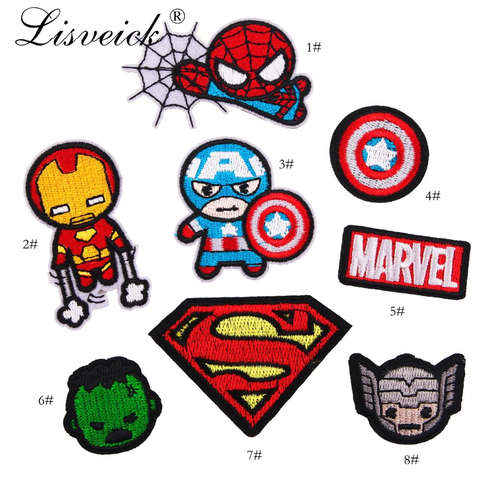 5pcs Cartoon Superman <font><b>Patches</b></font> Iron on Super Hero Appliques <font><b>for</b></font> <font><b>Clothing</b></font> <font><b>Marvel</b></font> Stickers 3D Spiderman Embroidered Clothes DIY image