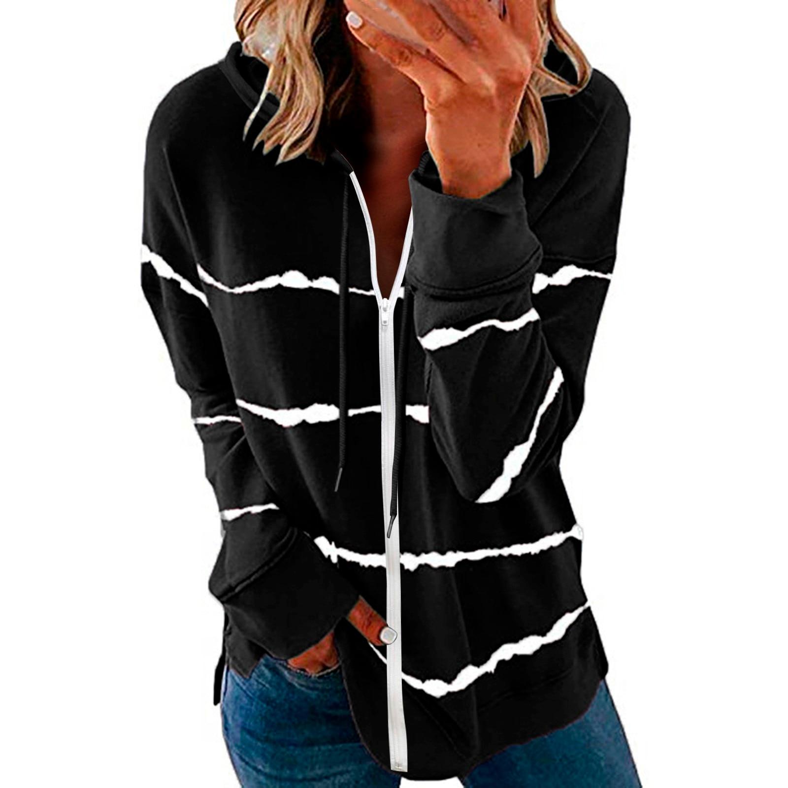 40#Womens Hoodie Striped Full Zipper Long Sleeve Lightweight Sweatshirts Spring Elegant Pullover Tee Tops толстовка женская 12