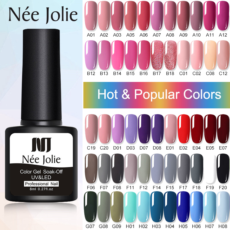 NEE JOLIE 8ml Gel Nail Polish Varnishes Solid Color Semi Permanent Base Top Need UV LED Lamp Manicures Paint Nails Gel Polish|Nail Gel|   - AliExpress