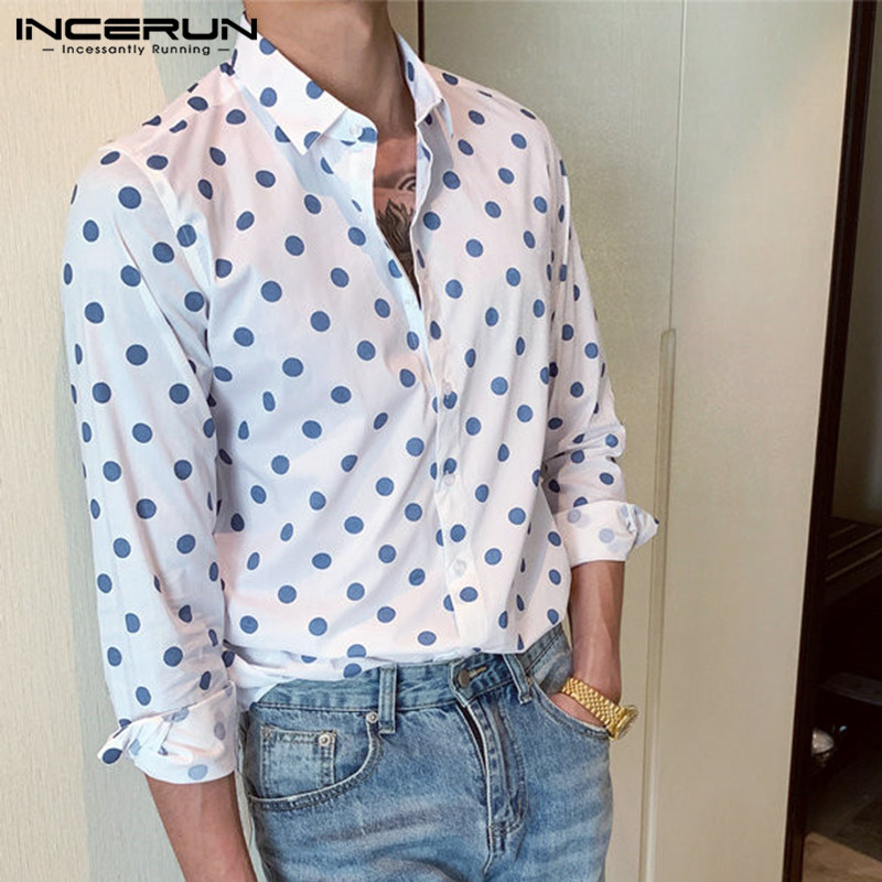 INCERUN Stylish Casual Brand <font><b>Shirt</b></font> <font><b>Men</b></font> <font><b>Polka</b></font> <font><b>Dot</b></font> Cotton Long Sleeve Button Street Chic Business <font><b>Shirts</b></font> <font><b>Men</b></font> Camisa Masculina 2019 image