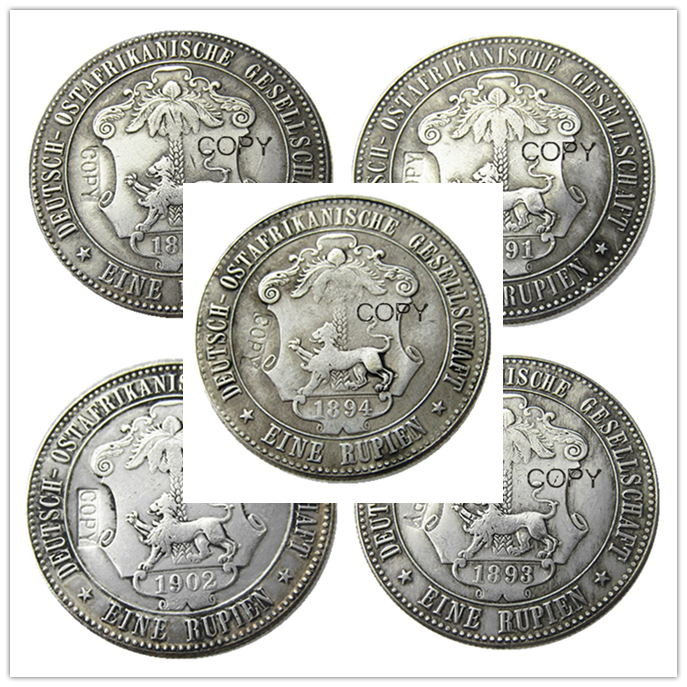 satu set (1891-1902) 5pcs Jerman Timur Afrika 1 Rupie Coin Guilelmus II Imperator Silver Plated Copy coin