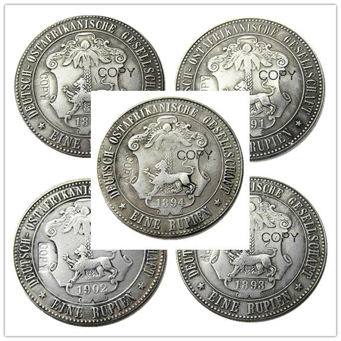 një sërë (1891-1902) 5 copë Afrika Gjermane Lindore 1 Rupie Monedhë Guilelmus II Imperator i praruar me argjend