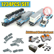 RC Motor Power Functions Ultimate Maersk Train Track Fit Technic City Remote Control Building Block Bricks Toy Boy Birthday Gift stzhou 1033pcs city engineering remote control rc train lepin building block compatible brick toy