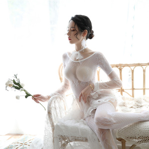 Image 1 - Porno Erotic Costumes for Women Transparent White Black Sexy Lingerie Lace Cute Female Underwear with Socks and Collar Babydolls