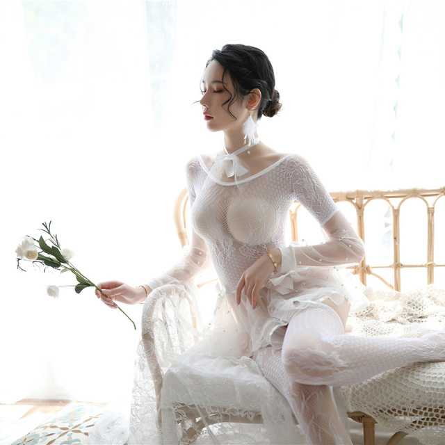 Porno Erotic Costumes for Women Transparent White Black Sexy Lingerie Lace Cute Female Underwear with Socks and Collar Babydolls