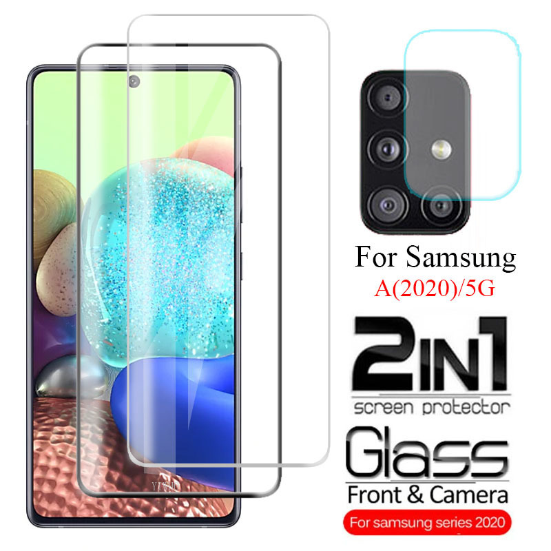 2 In1 Screen Protector Tempered Glass Camera Lens  For Samsung Galaxy A51 A71 5G A21 A31 A41 A11 A21s 2020 Film A 51 71