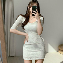 2020 Summer Women Mini Cloth Puff Half Sleeve Lace Bodycon Sexy Club Dress