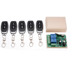 12V 433MHZ Garage Door Wireless Remote Control Switch Receiver Transmitter Kit 2CH Relay Receiver Module +5pcs Remote Controller