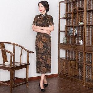 Image 3 - 2019 véritable Quinceanera rétro Xiangyunshan soie Cheongsam, la longueur de la manche moyenne est améliorée, corps mince, Cheongsam jupe lourde