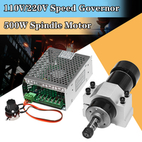 110 220V 500W High Speed Air cooled Spindle Motor PCB CNC Engraving Machine Spindle + Speed Controller + 52mm Fixed Seat
