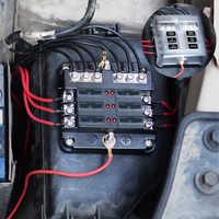 Boîte à fusibles à lame 6 voies et Kit de voiture de barre omnibus avec couvercle porte-FuseBox marin 12 V/32 V pour tricycle marin de bateau de voiture automatique