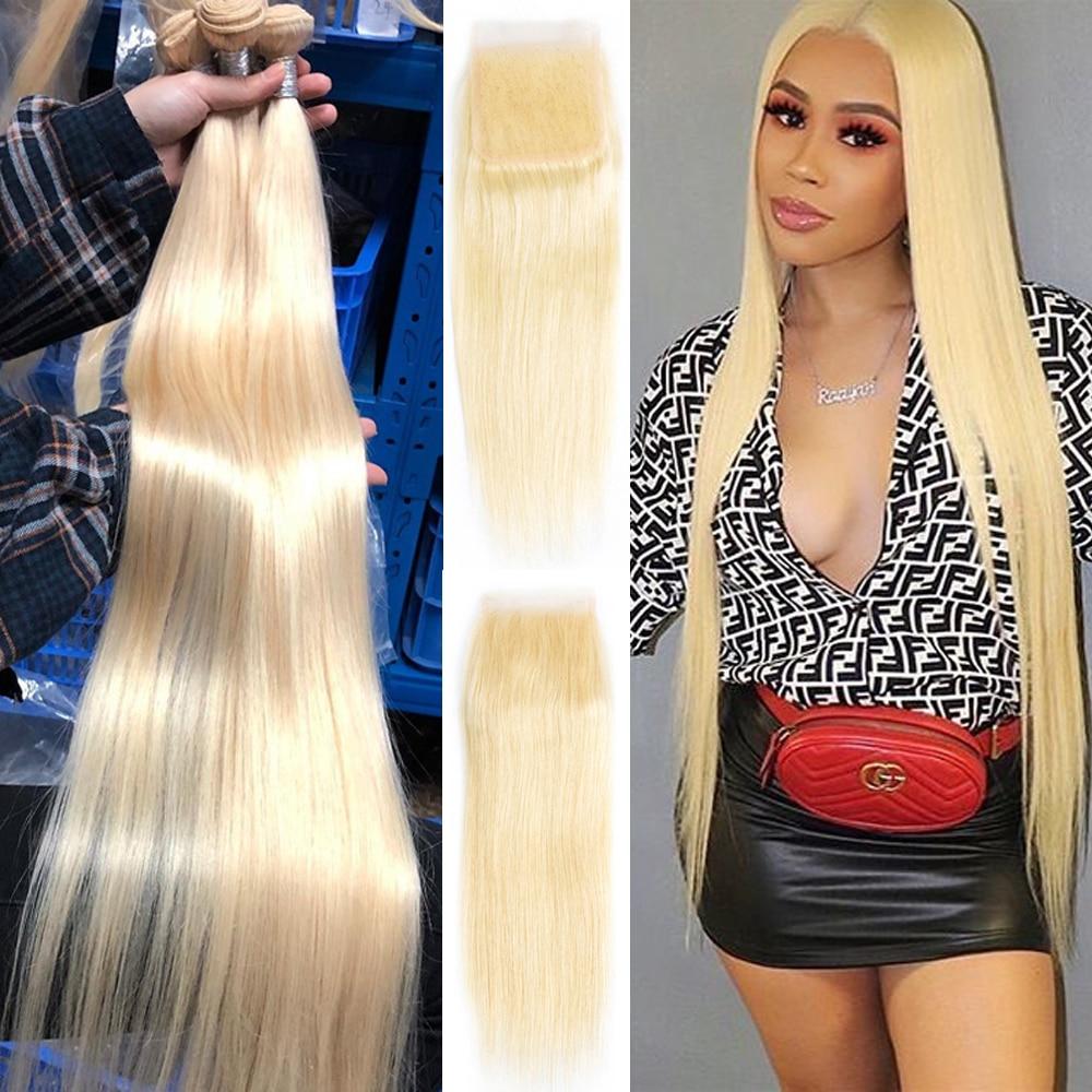 613 Blonde Bundles With Closure 32 34 36 38 40 Straight Hair 3 Bundles With Closure 4x4 Lace 100% Remy Human Hair With Closure