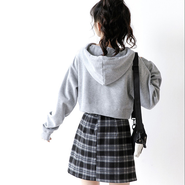 Ms. Sweatshirts Autumn Hooded Long Sleeve Hooded Pullovers Casual Drawstring Hoodie Pullovers Short Crop Top with Long Sleeves 6