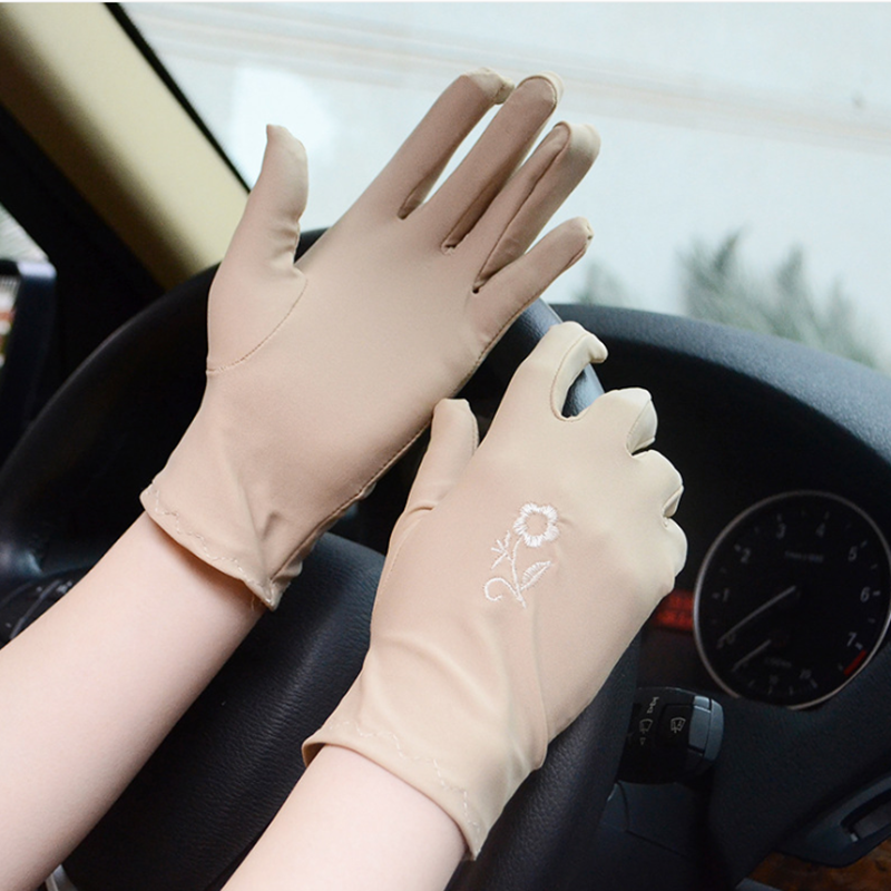 Super-elastic Full Finger Driving Embroidered Gloves Sun-shading Sunscreen Slip-resistant Short Gloves Women Female
