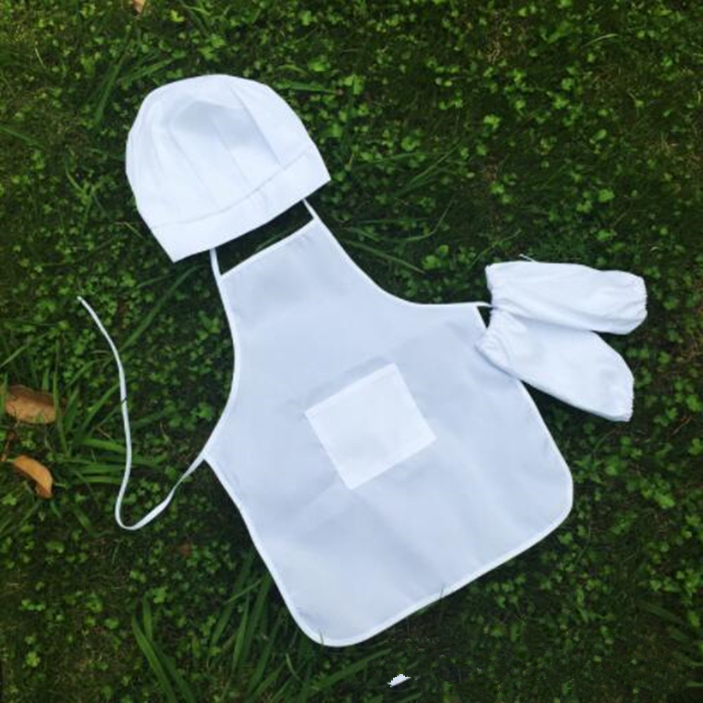 Children Apron Chef Hat Sleeve Set Kids Craft Art Kitchen Cooking Drink Food Baking DIY Painting White QLY3003