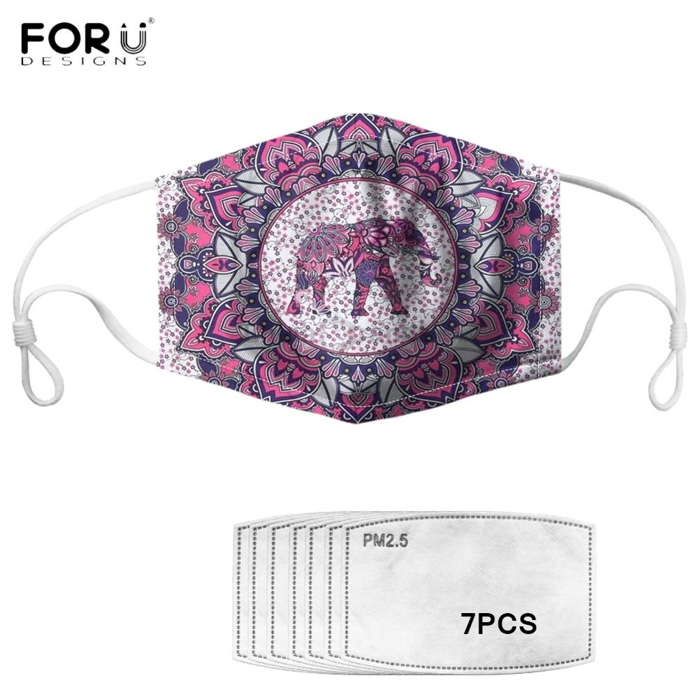 Forudesigns Indian Mandala Purple Elephant Pattern Women Men Face Mask With 7Pcs Filters Anti Dust Spittle Windproof Adult Masks