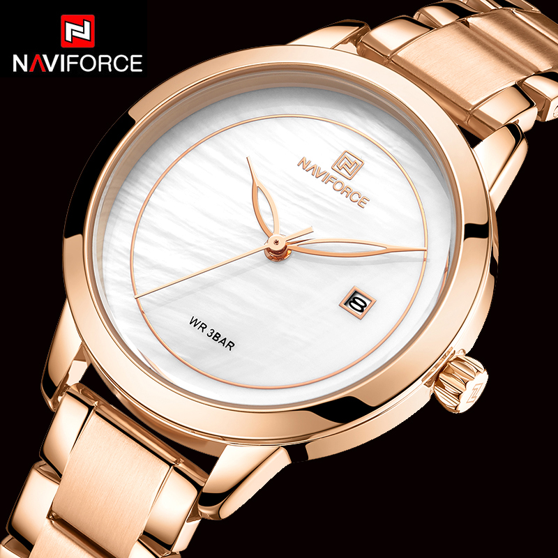 NAVIFORCE Women Watches Luxury Brand 2019 Stainless Steel Ladies Watch Fashion Wristwatch Waterproof Simple Style Reloj Mujer