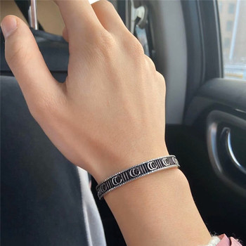Gorgeous retro style Men and women Wear Double opening Bracelet S925 Sterling silver Jewelry adjustable Enjoy your charm gift men and women wear gorgeous retro double letter opening bracelet adjustable s925 sterling silver jewelry luxury brands logo gift